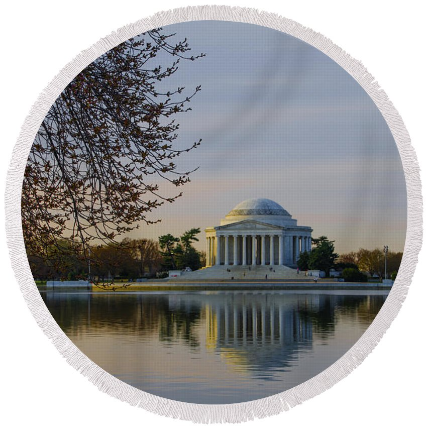 April Round Beach Towel featuring the photograph April Morning In Washington Dc by Bill Cannon