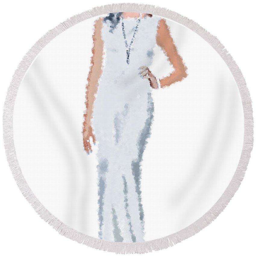 Fashion Round Beach Towel featuring the digital art April by Nancy Levan