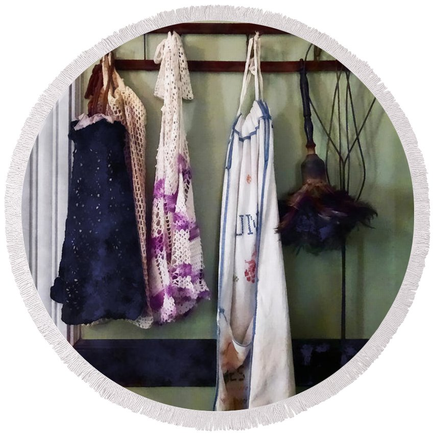 Aprons Round Beach Towel featuring the photograph Aprons And Feather Duster by Susan Savad
