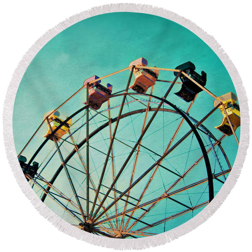 Ferris Wheel Round Beach Towel featuring the photograph Aquamarine Dream - Ferris Wheel Art by Melanie Alexandra Price