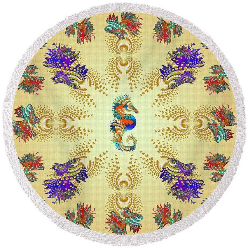 Shells Round Beach Towel featuring the digital art Aquarium Glow Mustard by Deborah Runham