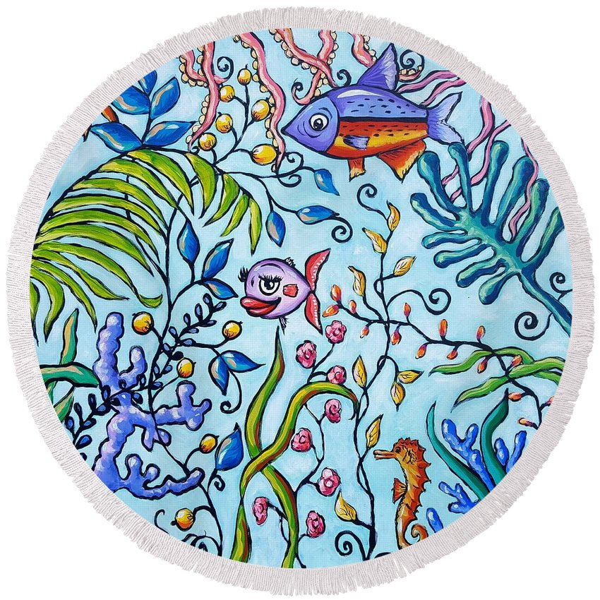 Aquarium Round Beach Towel featuring the painting Aquarium by Sandra Lett