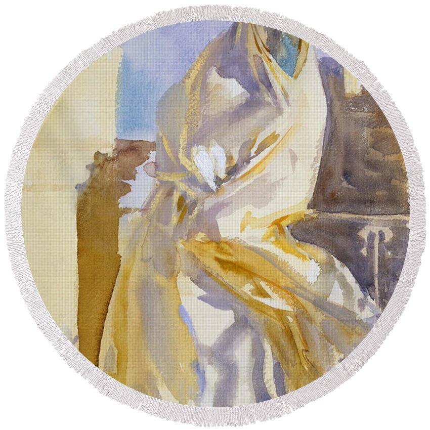 John Singer Sargent Round Beach Towel featuring the painting Arab Woman by John Singer Sargent