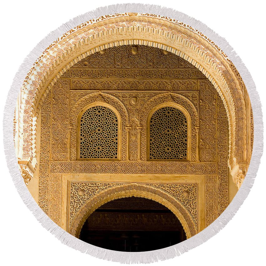Cuarto Round Beach Towel featuring the photograph Arabesque Ornamental Designs At The Casa Real In The Nasrid Palaces At The Alhambra by Mal Bray