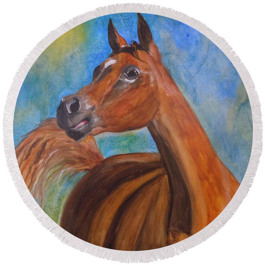 Horse Round Beach Towel featuring the painting Arabian Beauty by Jean Blackmer