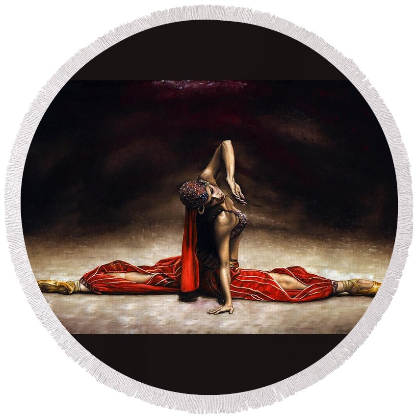 Ballerina Round Beach Towel featuring the painting Arabian Coffee by Richard Young