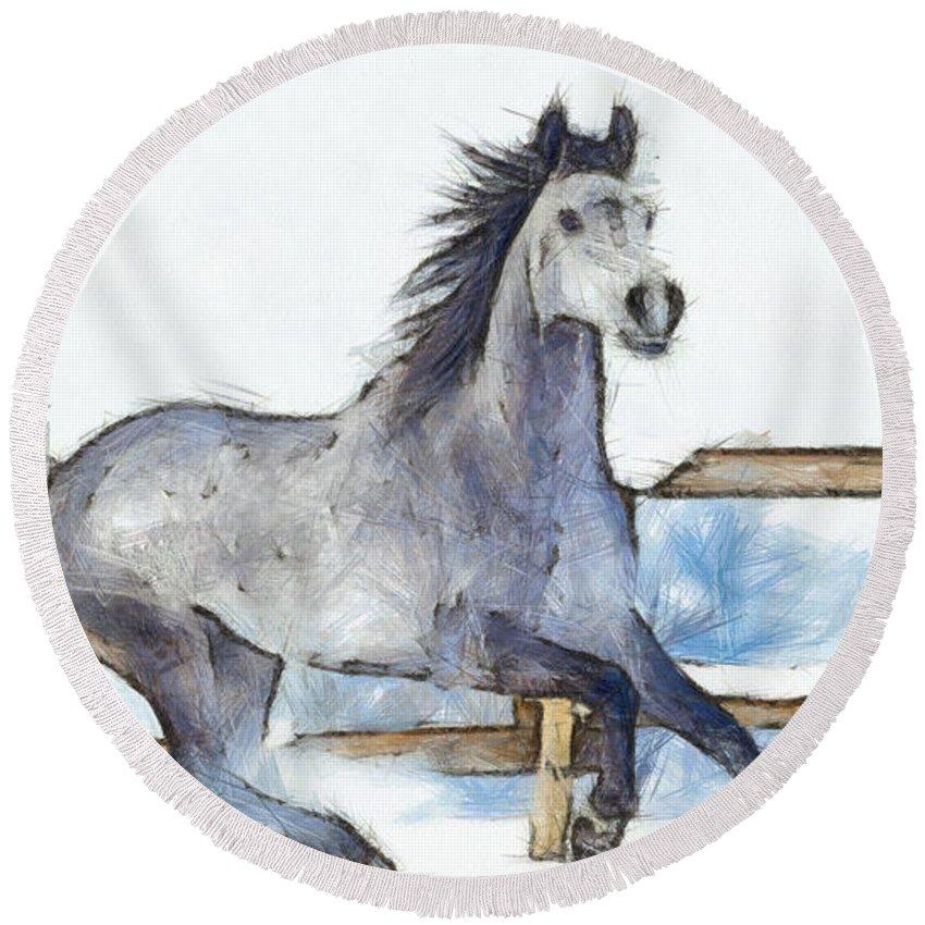 Horse Round Beach Towel featuring the digital art Arabian Horse And Snow - Da by Leonardo Digenio