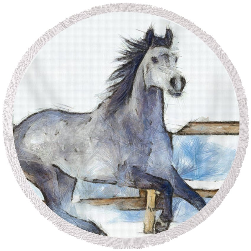 Horse Round Beach Towel featuring the painting Arabian Horse And Snow - Pa by Leonardo Digenio