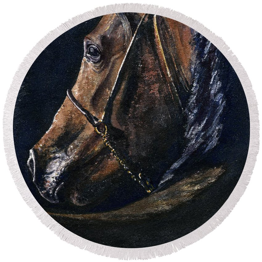 Horse Round Beach Towel featuring the painting Arabian by John D Benson