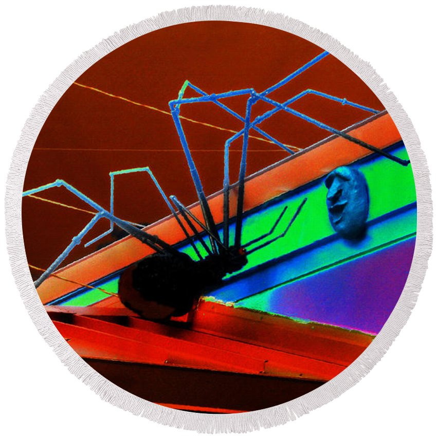 Art Round Beach Towel featuring the painting Arachnophobia by David Lee Thompson