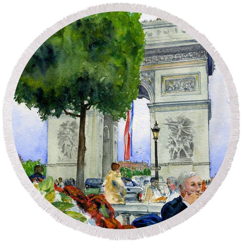 Ace De Triomphe Round Beach Towel featuring the painting Arc De Triomphe by John D Benson
