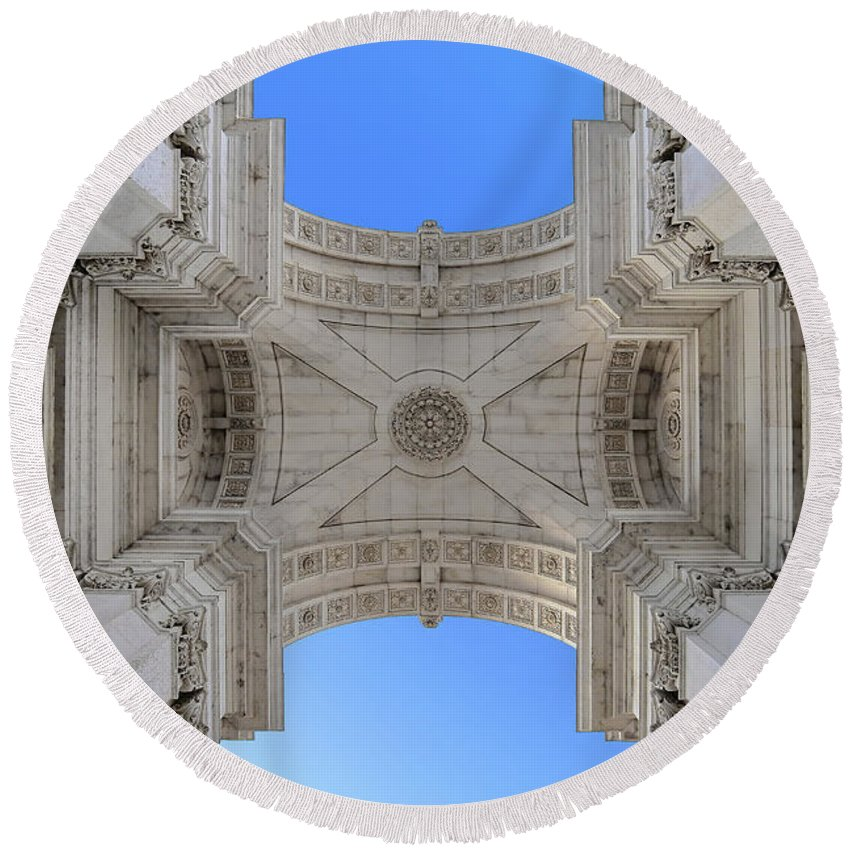 Praca Commercio Round Beach Towel featuring the photograph Arch-itecture by Adam Zoltan