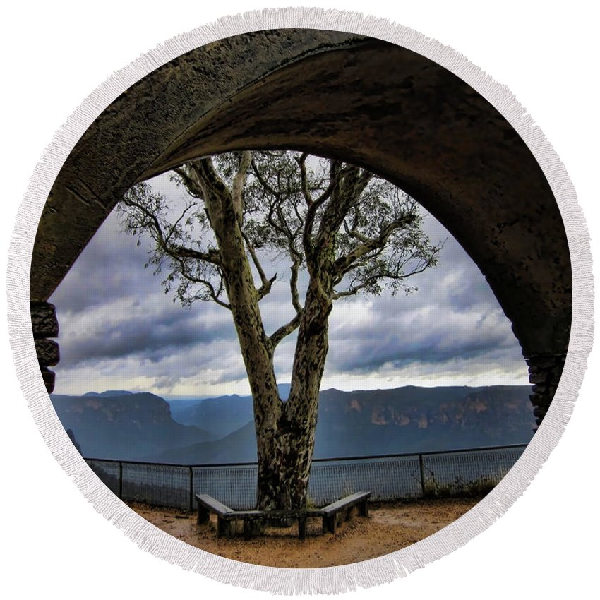 Tree Round Beach Towel featuring the photograph Arch Tree by Douglas Barnard