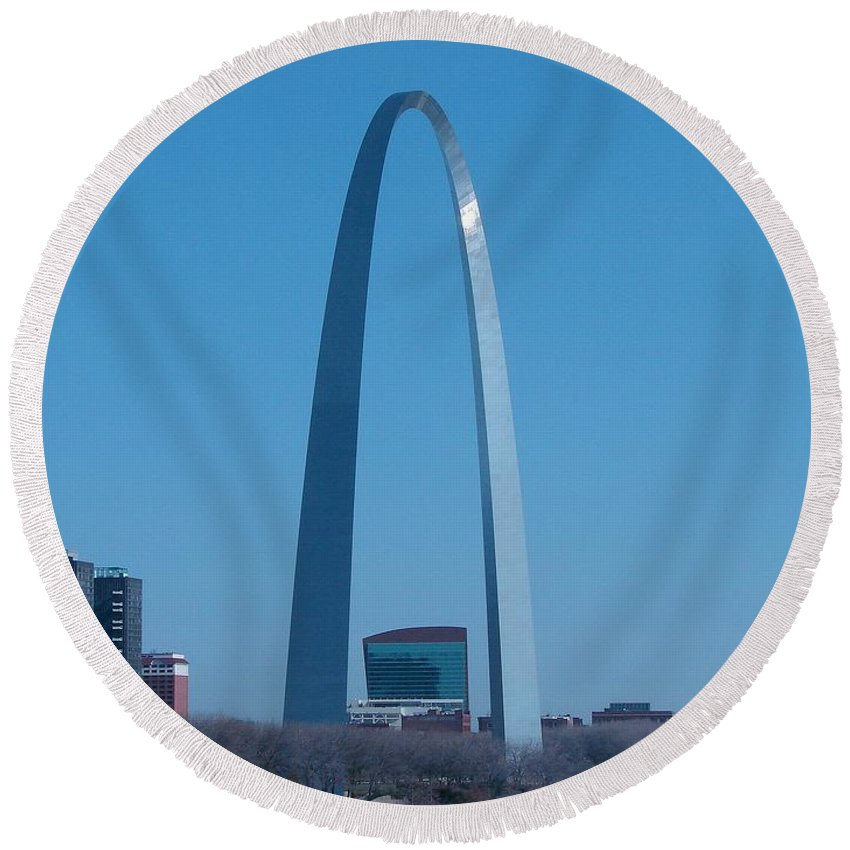 St Louis Round Beach Towel featuring the photograph Arch With Lumiere by J R Seymour