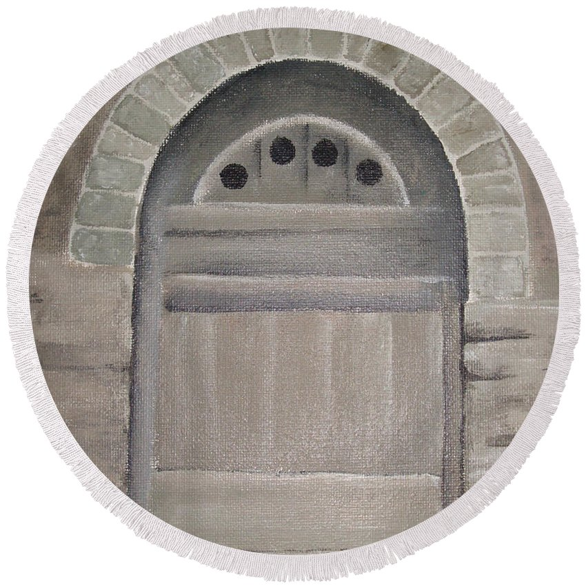Ancient Round Beach Towel featuring the painting Arched Doorway By Kim Chernecky by Kim Chernecky