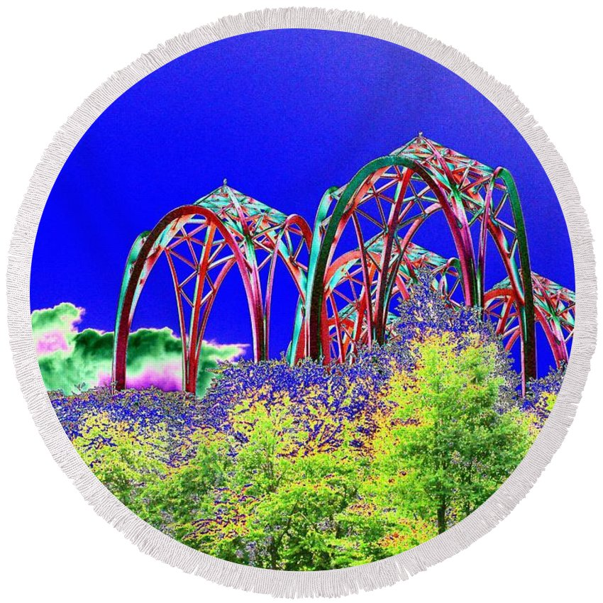 Seattle Round Beach Towel featuring the photograph Arches 6 by Tim Allen