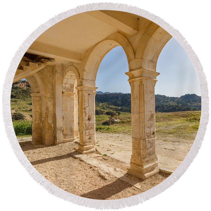 Cyprus Round Beach Towel featuring the photograph Arches And Stairs Of Derelict Agios Georgios Church by Iordanis Pallikaras