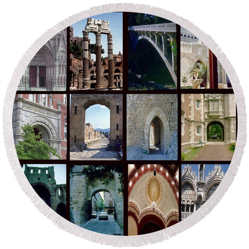 Arches Round Beach Towel featuring the digital art Arches Collage by Cathy Anderson