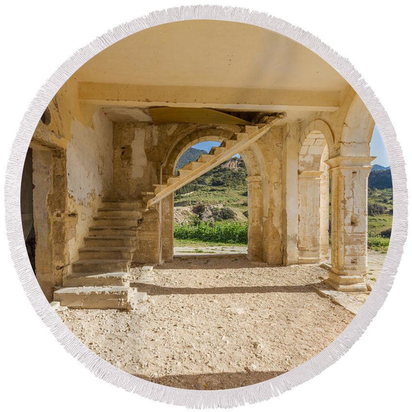 Cyprus Round Beach Towel featuring the photograph Arches, Entrance And Stairs Of Derelict Agios Georgios Church by Iordanis Pallikaras