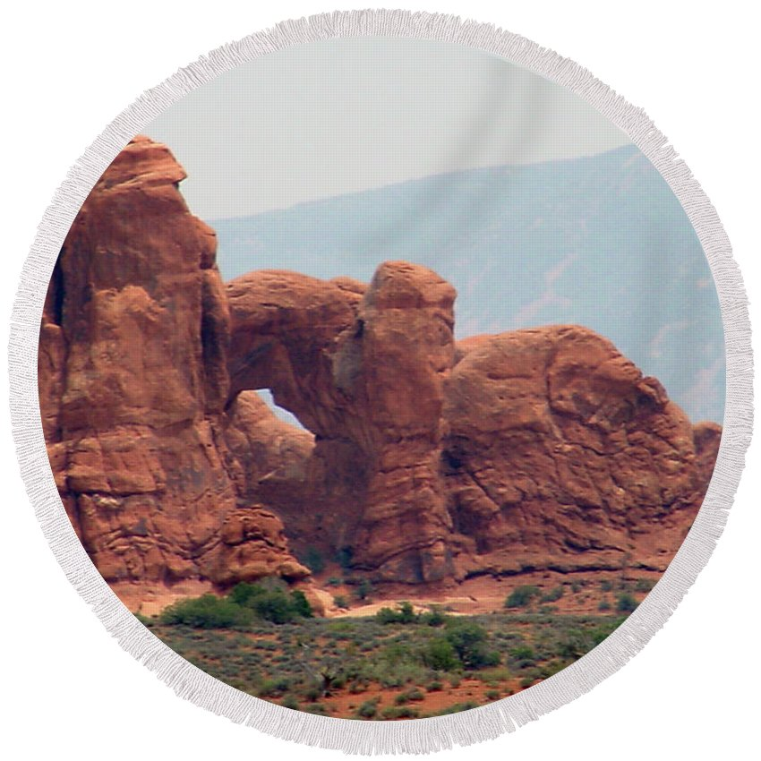 Arches National Park Round Beach Towel featuring the photograph Arches Formation 22 by Dawn Amber Hood