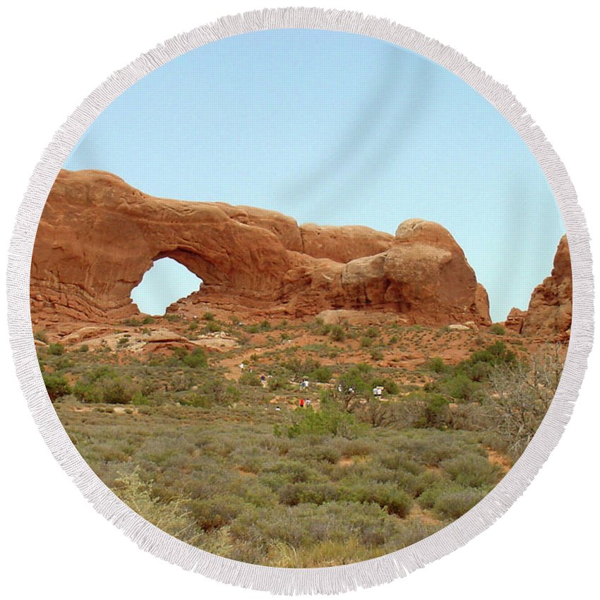 Arches National Park Round Beach Towel featuring the photograph Arches Formation 34 by Dawn Amber Hood