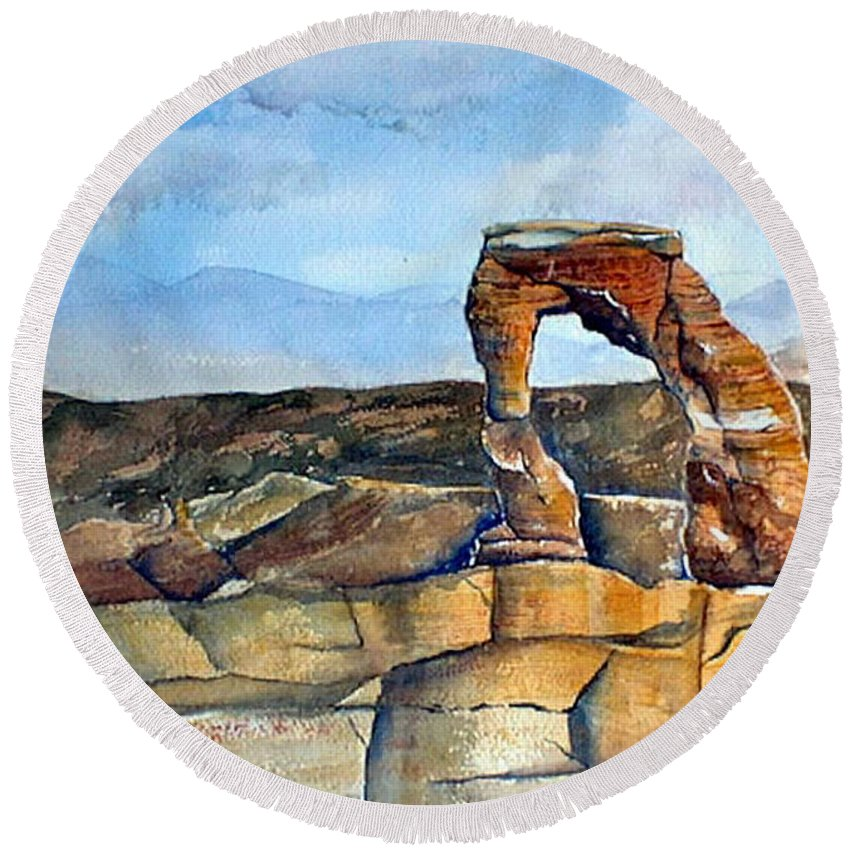 Arches National Park Round Beach Towel featuring the painting Arches National Park by Debbie Lewis