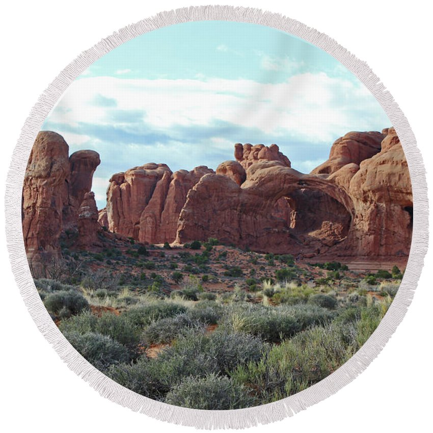 Sandstone Round Beach Towel featuring the photograph Arches National Park Windows by Elizabeth Rose