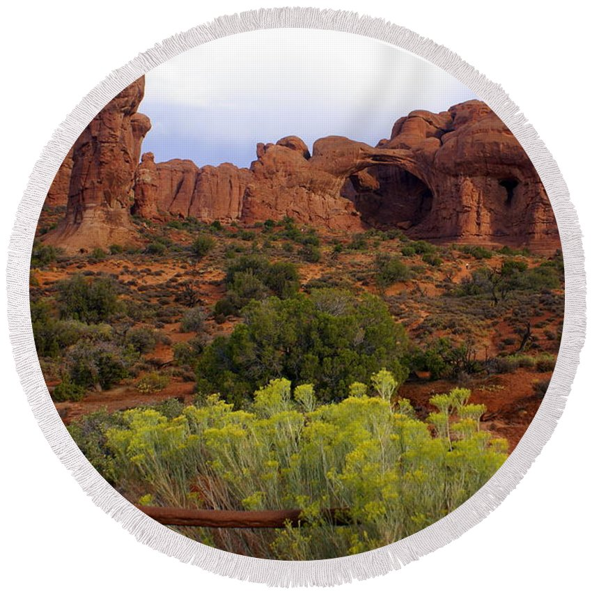Southwest Art Round Beach Towel featuring the photograph Arches Park 1 by Marty Koch