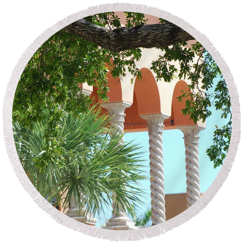Architecture Round Beach Towel featuring the photograph Arches Thru The Trees by Rob Hans