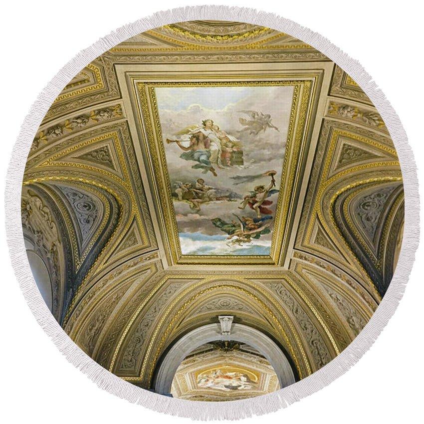 Vatican Round Beach Towel featuring the photograph Architectural Artistry Within The Vatican Museum In The Vatican City by Richard Rosenshein