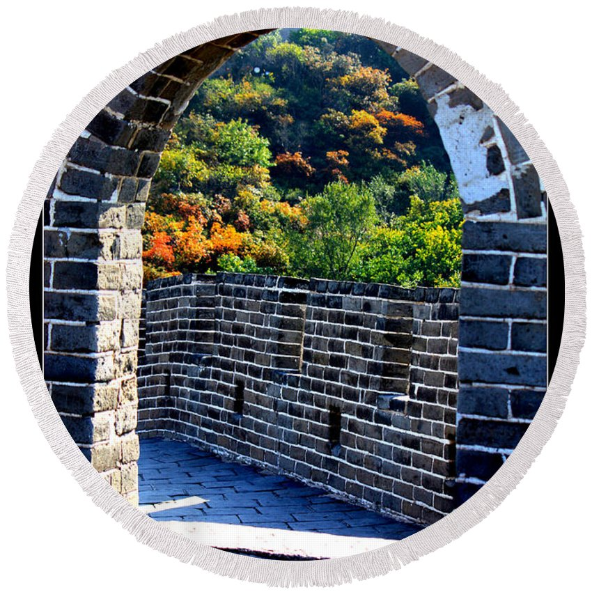 The Great Wall Of China Round Beach Towel featuring the photograph Archway To Great Wall by Carol Groenen