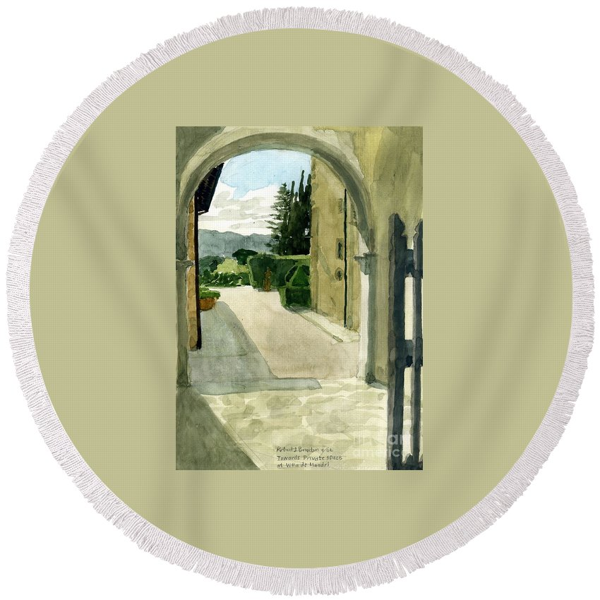 Watercolor Round Beach Towel featuring the painting Archway Villa Mandri by Robert Bowden