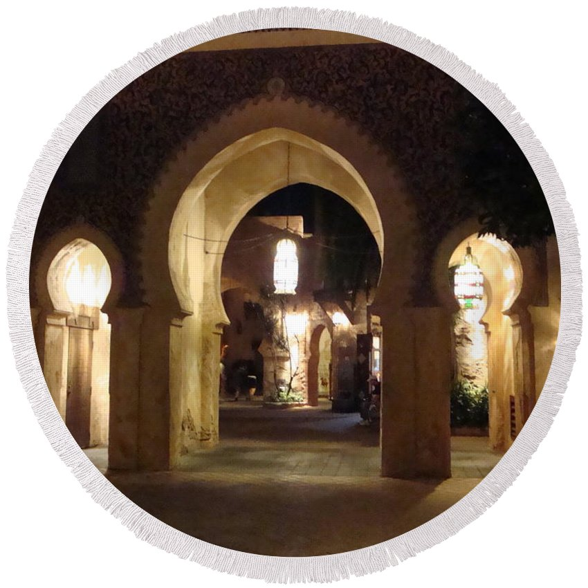 Light Round Beach Towel featuring the photograph Archways At Night by Kim Chernecky