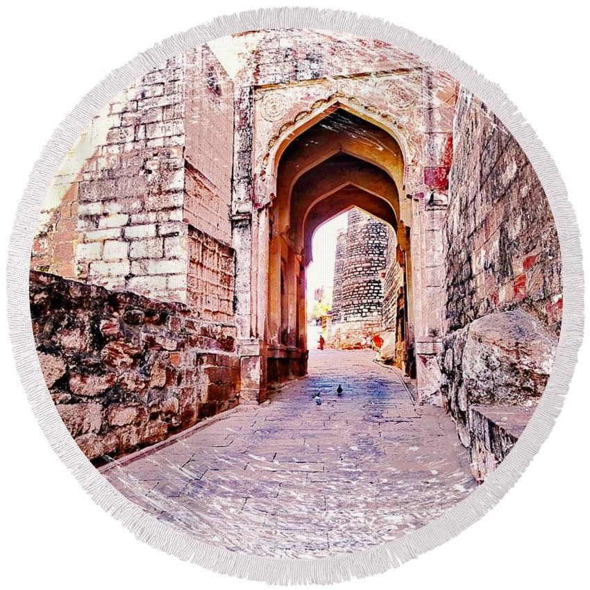 Travel Photography Round Beach Towel featuring the photograph Archways Ornate Palace Mehrangarh Fort India Rajasthan 1a by Sue Jacobi