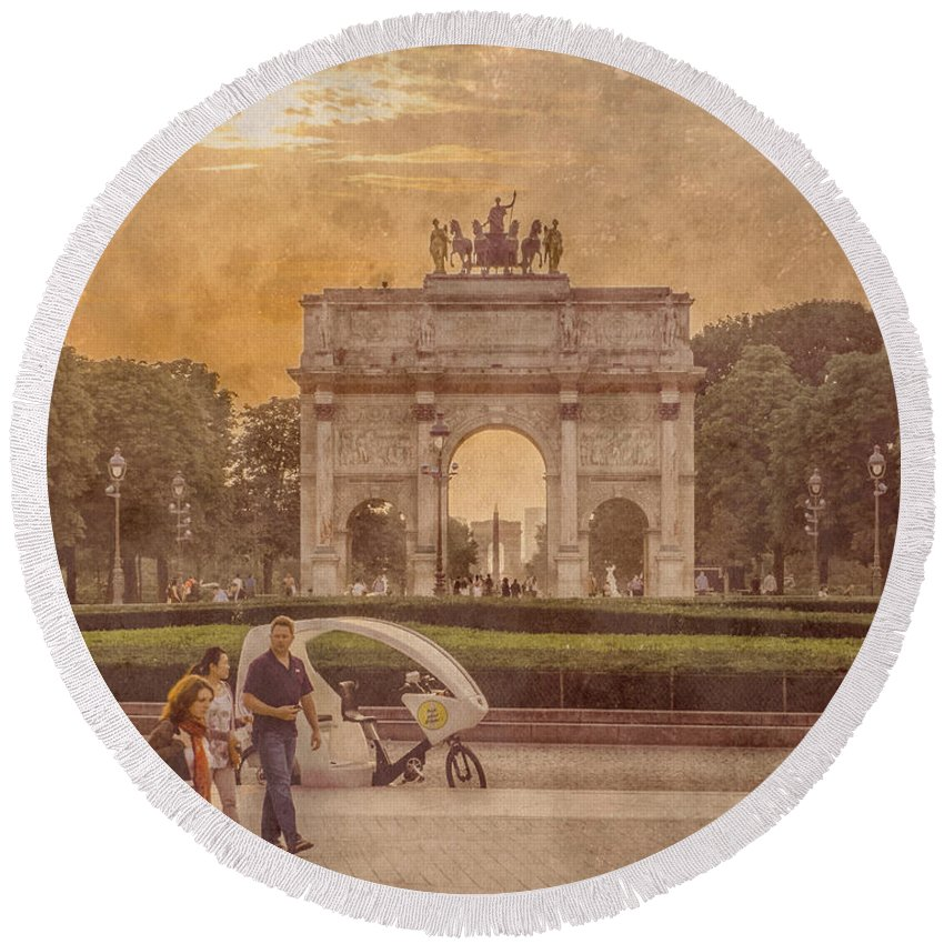 France Round Beach Towel featuring the photograph Paris, France - Arcs by Mark Forte