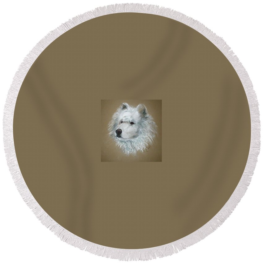 Pastel Round Beach Towel featuring the drawing Arctic Majestry by Cori Solomon