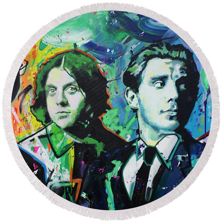 Arctic Monkeys Round Beach Towel featuring the painting Arctic Monkeys by Richard Day