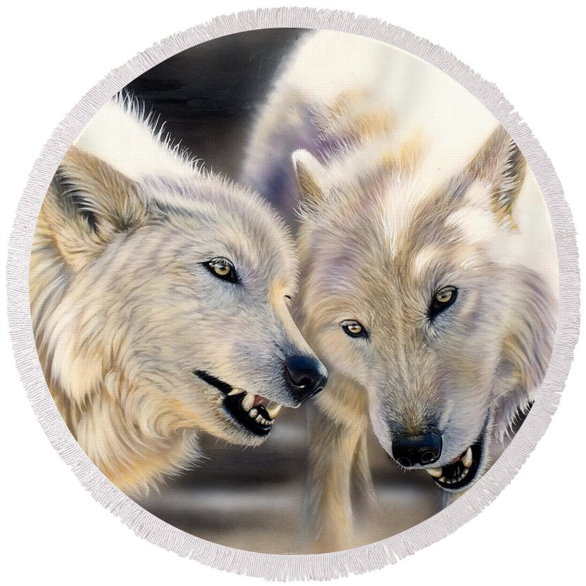 Acrylics Round Beach Towel featuring the painting Arctic Pair by Sandi Baker