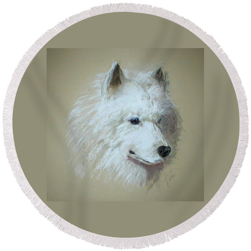 Dog Round Beach Towel featuring the drawing Arctic Serenity by Cori Solomon
