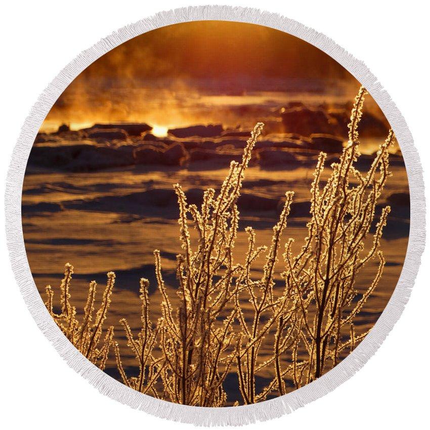 Sunrise Round Beach Towel featuring the photograph Arctic Sea Smoke Sunrise by Dianne Cowen
