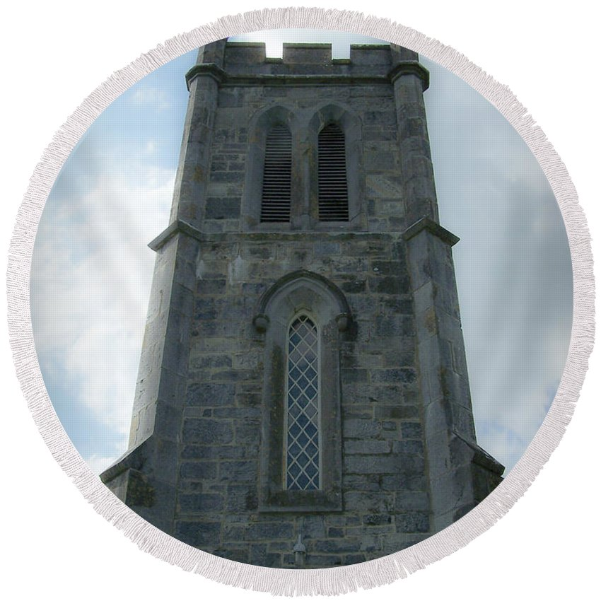 Irish Round Beach Towel featuring the photograph Ardcroney Church County Clare Ireland by Teresa Mucha