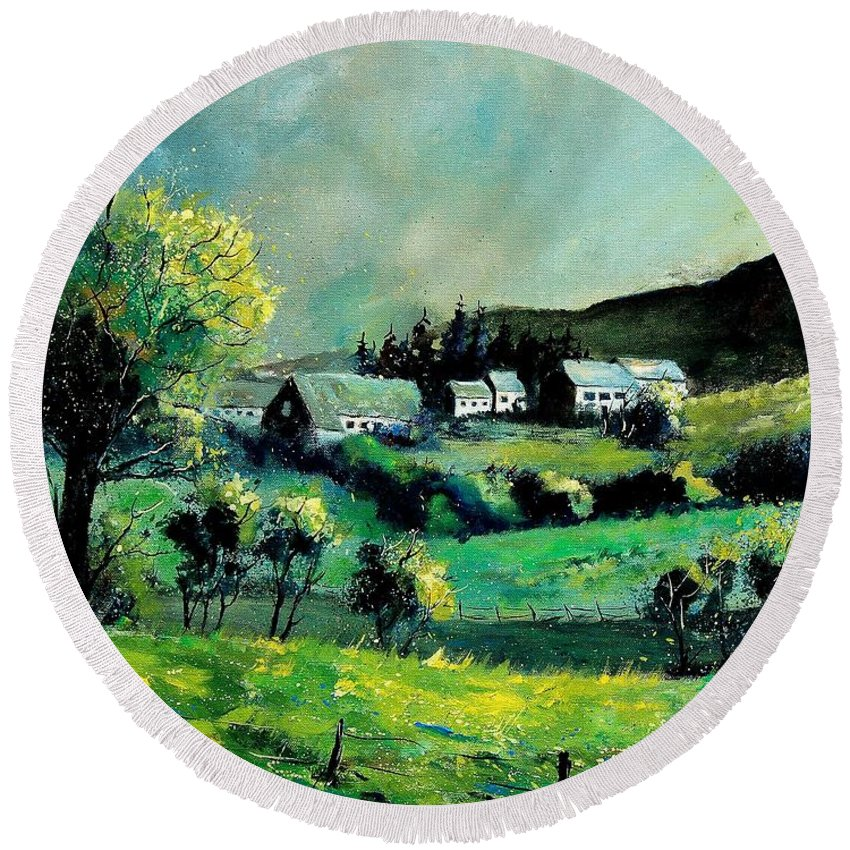 Spring Round Beach Towel featuring the painting Ardennes 79 by Pol Ledent