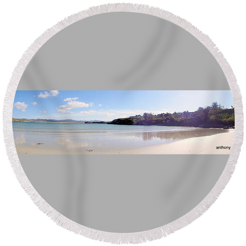 Landscape Round Beach Towel featuring the photograph Downings Donegal Ireland by Anthony Gallagher