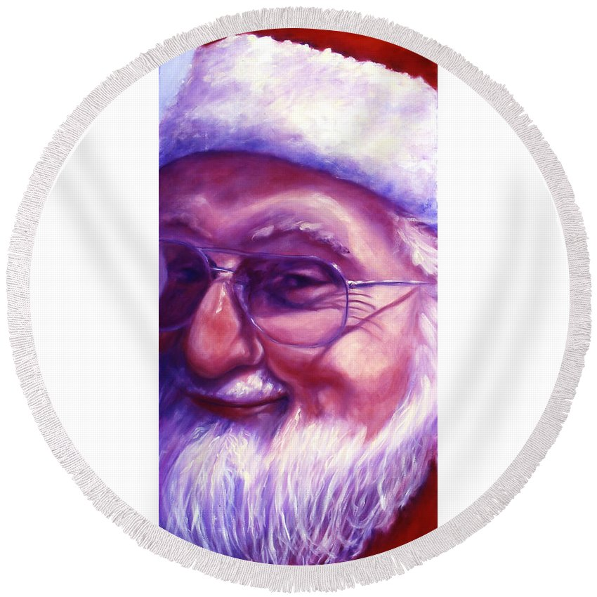 Portrait Round Beach Towel featuring the painting Are You Sure You Have Been Nice by Shannon Grissom