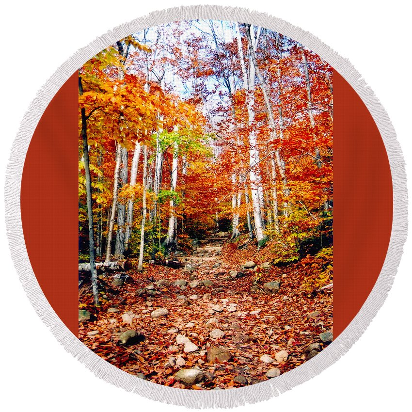 Orange Round Beach Towel featuring the photograph Arethusa Falls Trail by Greg Fortier