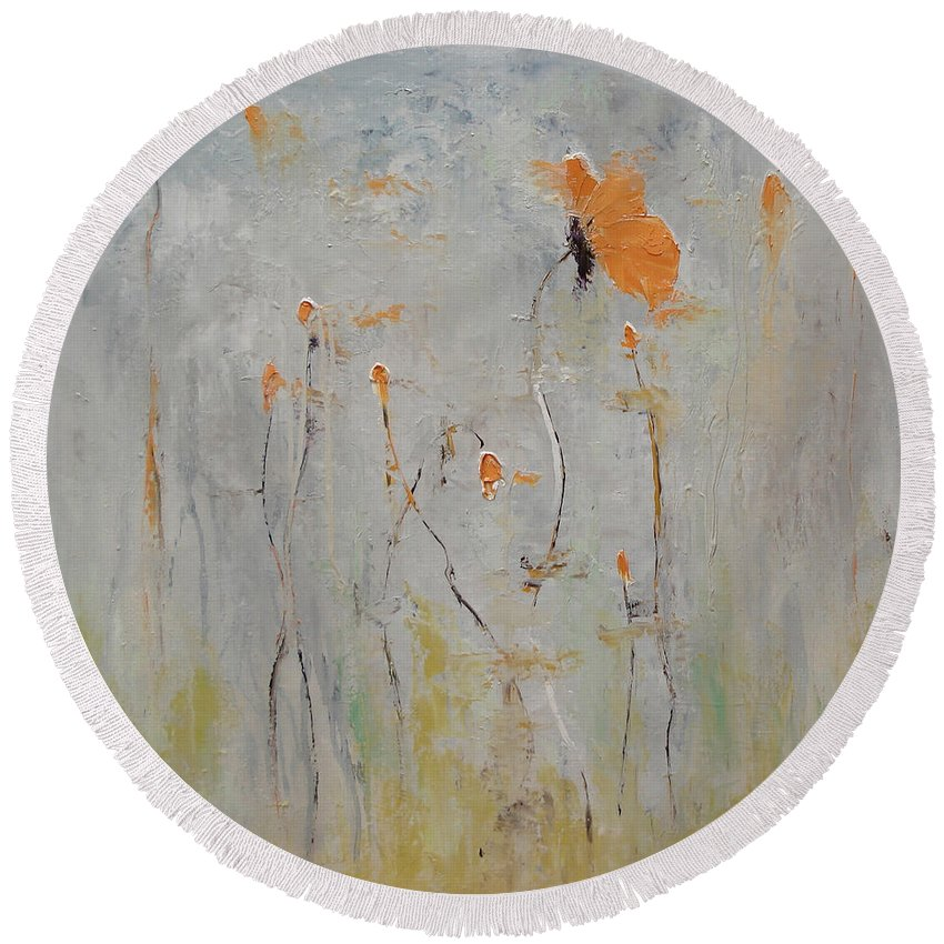 Floral Round Beach Towel featuring the painting Aria by Barbara Andolsek