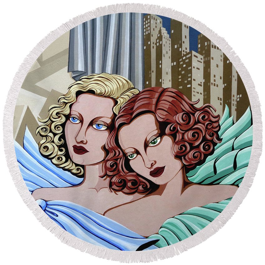 Portrait Round Beach Towel featuring the painting Arielle And Gabrielle by Tara Hutton