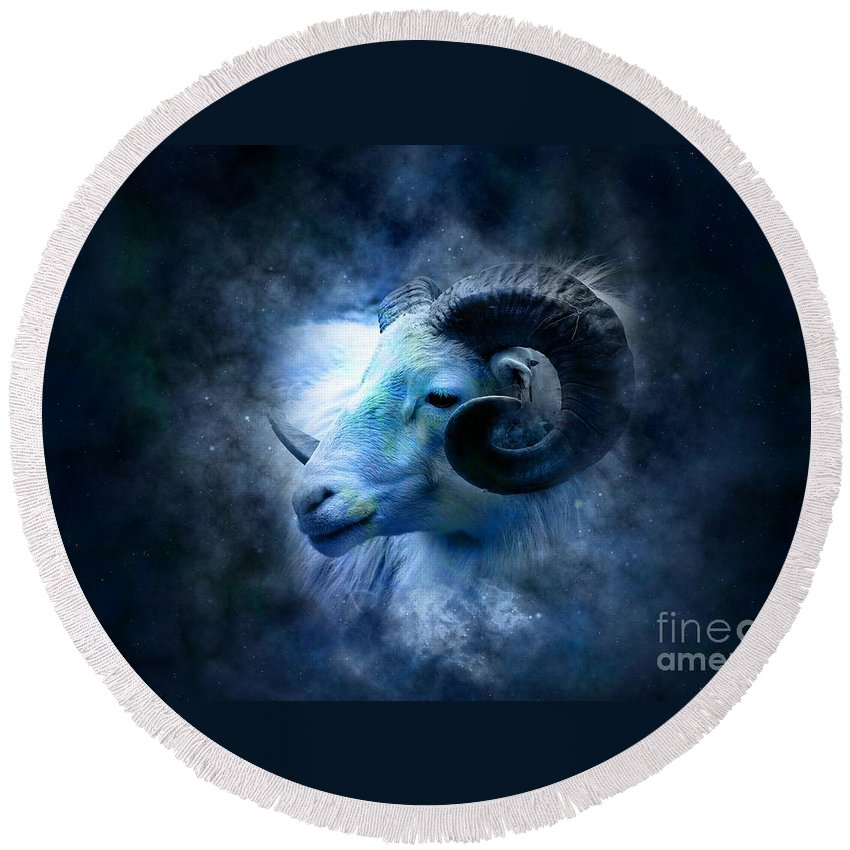 Witchcraft Round Beach Towel featuring the digital art Aries by Frederick Holiday