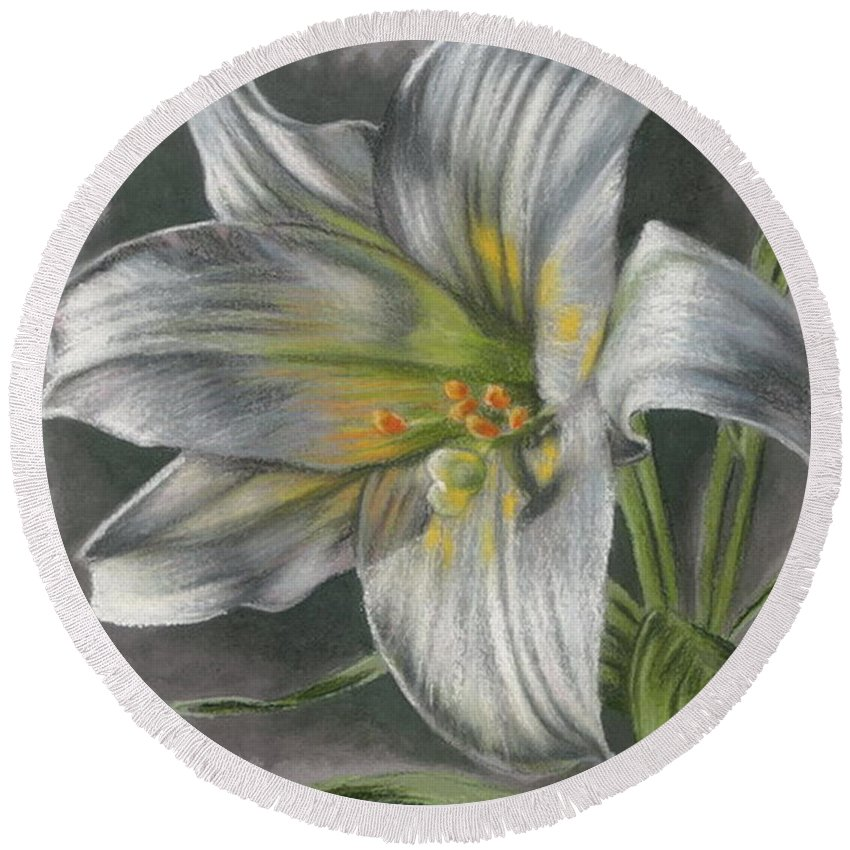 Easter Lily Round Beach Towel featuring the mixed media Arise by Barbara Keith