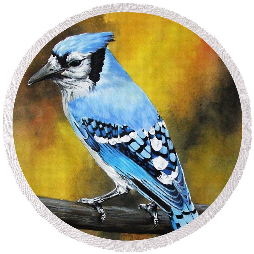 Common Bird Round Beach Towel featuring the painting Aristocrat by Barbara Keith